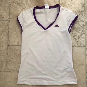 Adidas cap sleeve v neck size S polyester stretchy